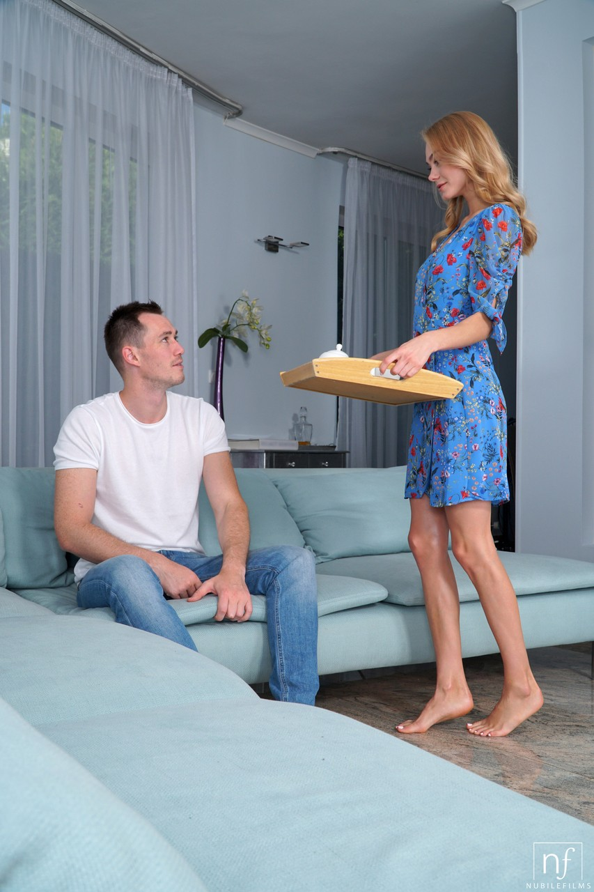 Hot couple Martin  Nancy A have wild sex on a couch that ends with cumshot
