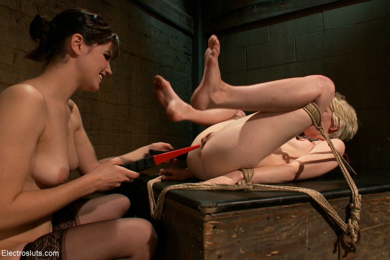 ... Tied slave with electrodes on nipples gets pussy tortured by hot lesbian  dom ...