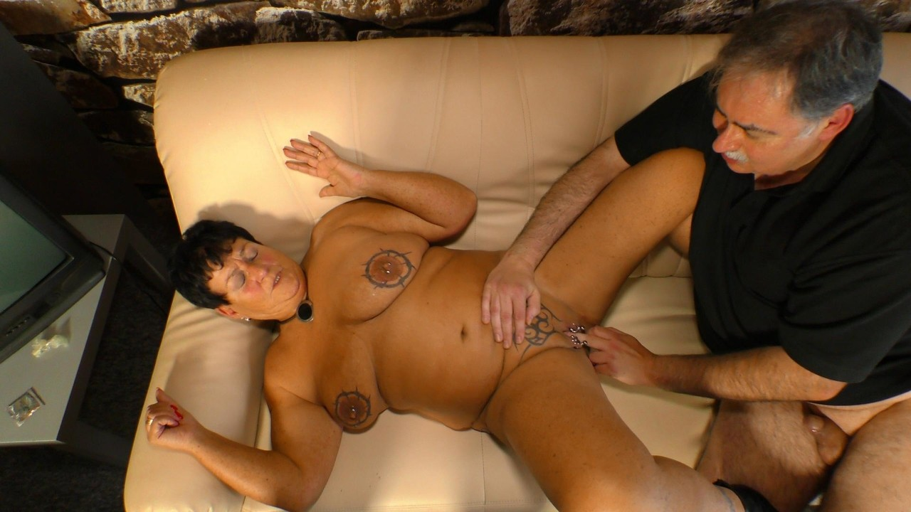 Older mature fatty Angelika K gets her tattooed nipples licked & creamed