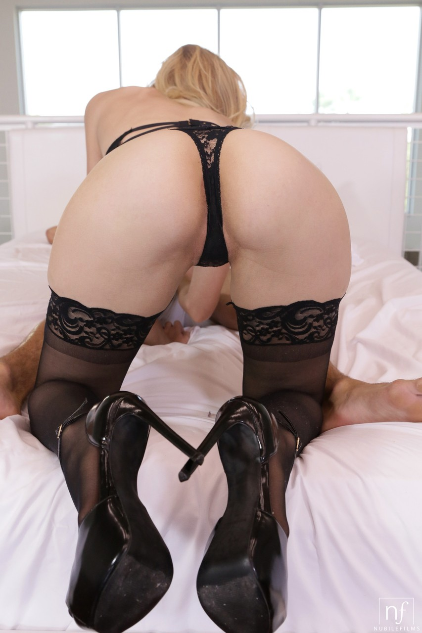 Long cool Alexa Grace in black lace lingerie 7 stockings rides on top  sucks