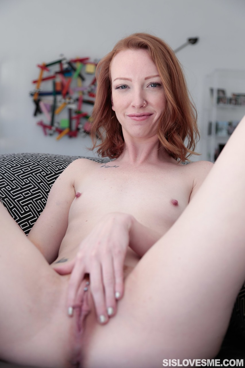 Adorable skinny ginger Katy Kiss teasing with her trimmed wet pussy