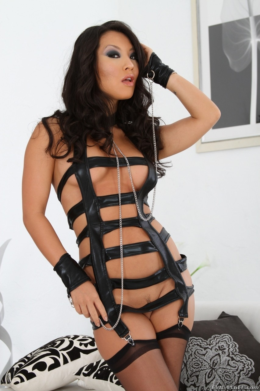 Hottest Asian pornstar ever Asa Akira showing her body in black leather