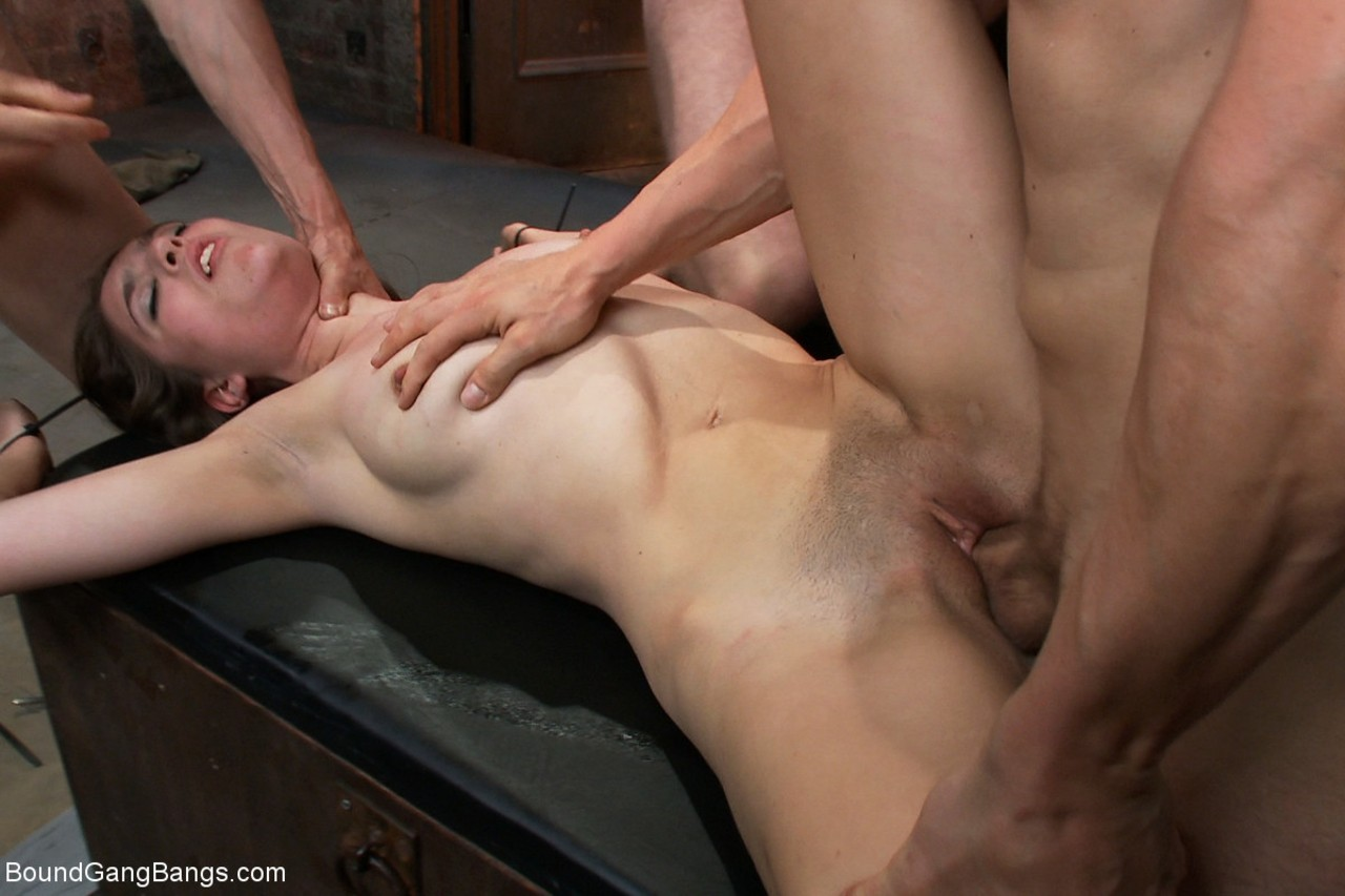 Small titted Zarena Summers gets restrained  gangbanged in the dungeon