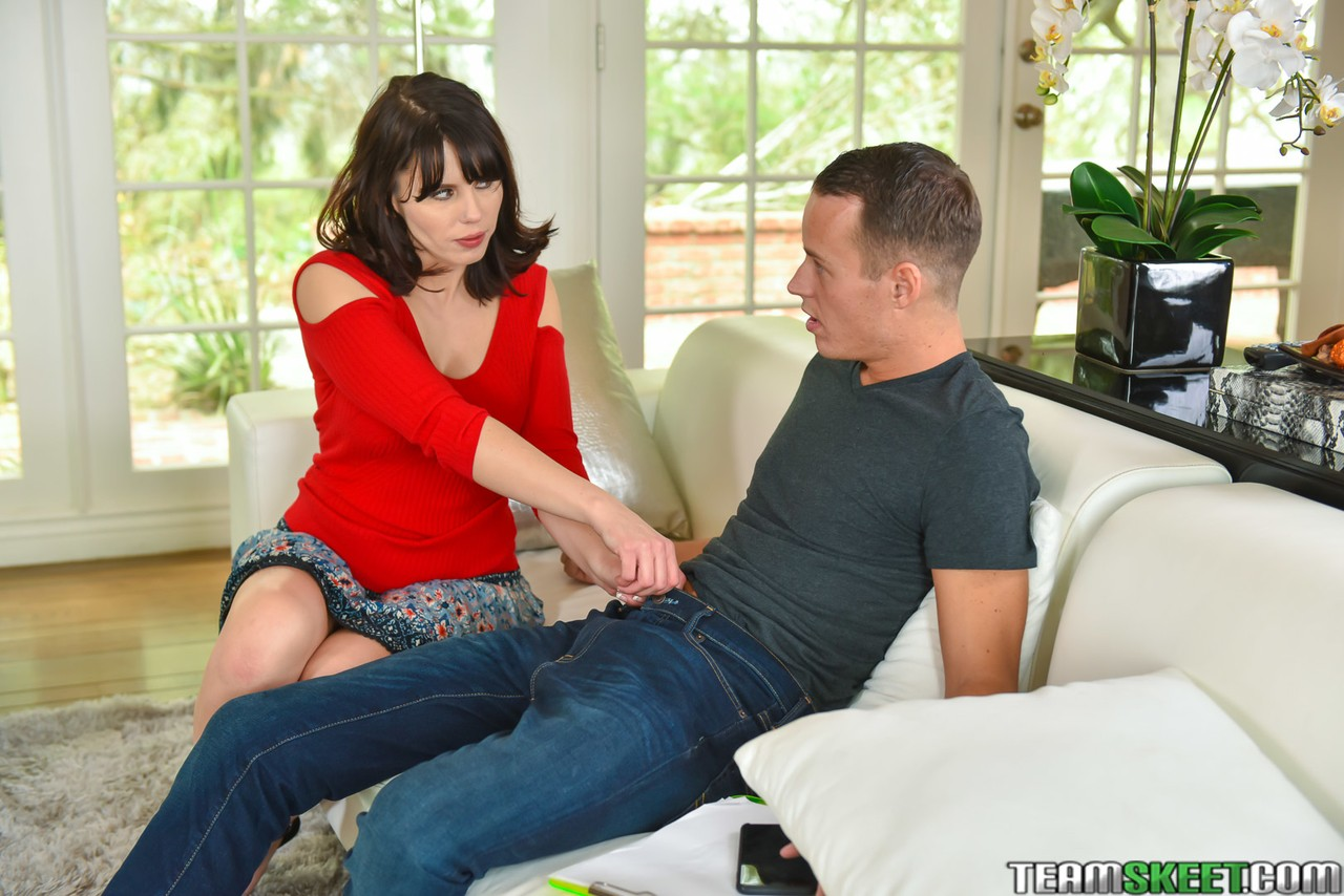 Hot MILF Amber Chase undresses with sexy GF Blair Williams & gives stepson BJ