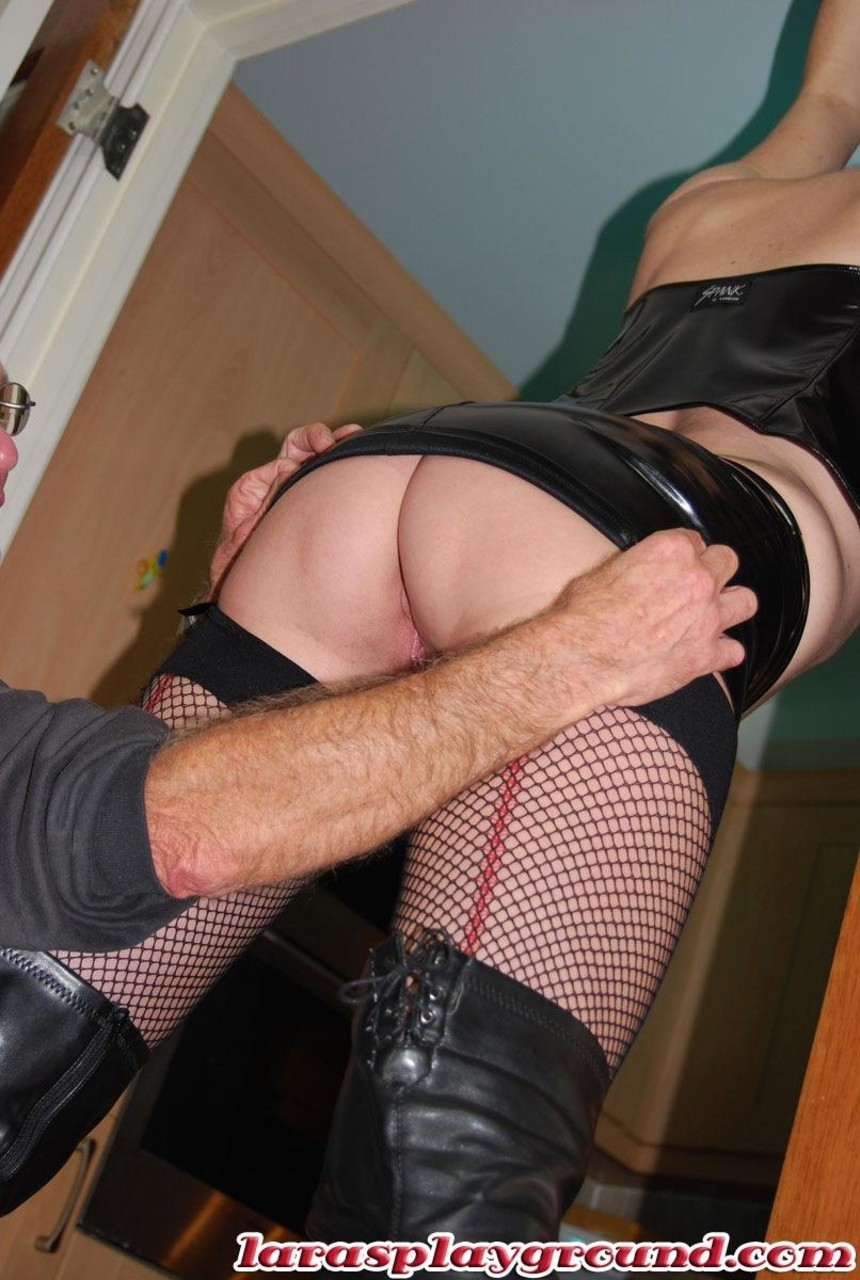... Tall mature Lara in latex lets a short hairy old man fuck her well used  pussy ...