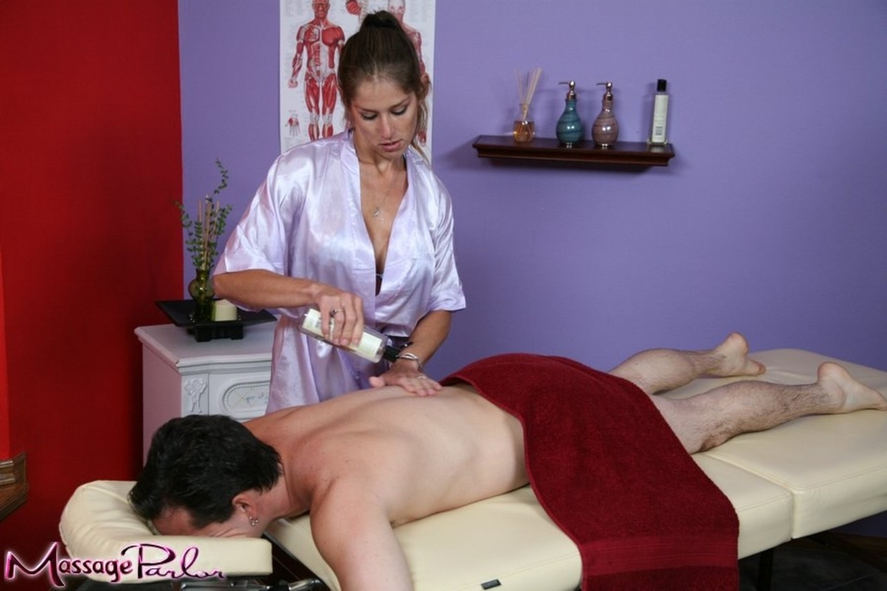 Buxom masseuse Felony uses her big tits for oiled titty fuck  body sliding