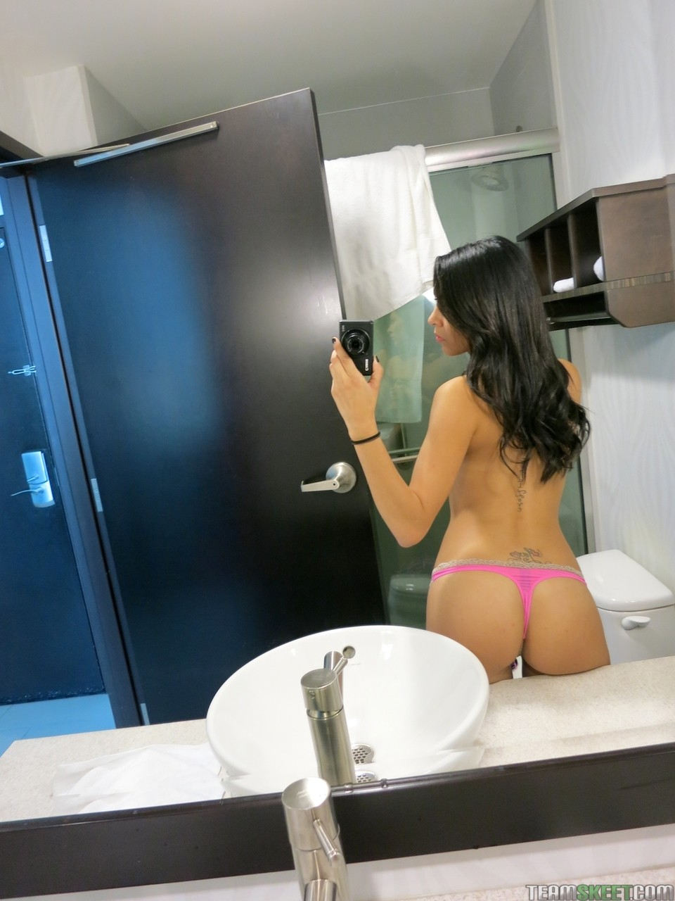Sexpot Serena Torres copulates with her man on couch and in bathroom