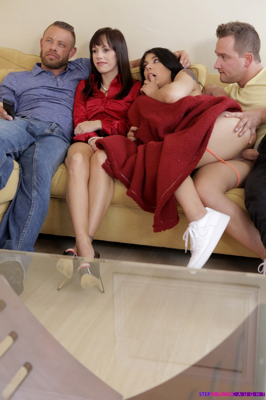 Young Gina Valentina nailed by stepbrother  gets creampie as family views TV