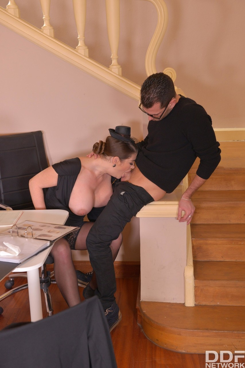 Busty widow Cathy Heaven gets a service discount with deepthroat  titty fuck