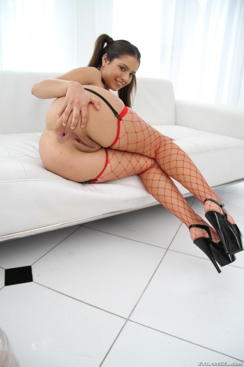 Hot pigtailed Jynx Maze gets ass stuffed with big dick wearing red fishnets