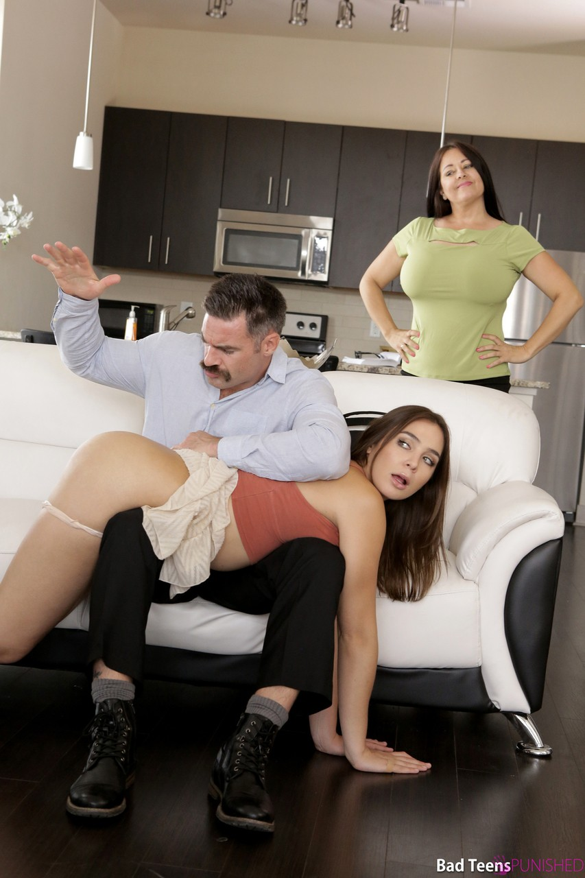 Slutty brunette Blair Williams spanked by stepdad & rides his boner on the sly
