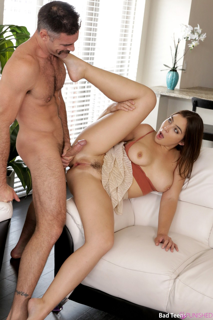 Slutty brunette Blair Williams spanked by stepdad  rides his boner on the sly