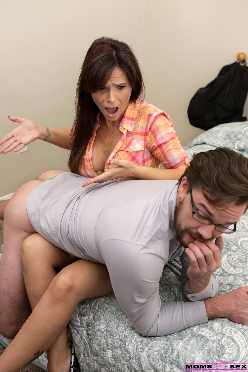 Hard looking step mom Syren Demer spanks grown stepson  gets a creampie