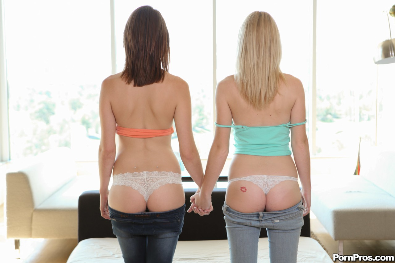 Young Aly Monroe stripping and having dirty lesbian fun with her friend