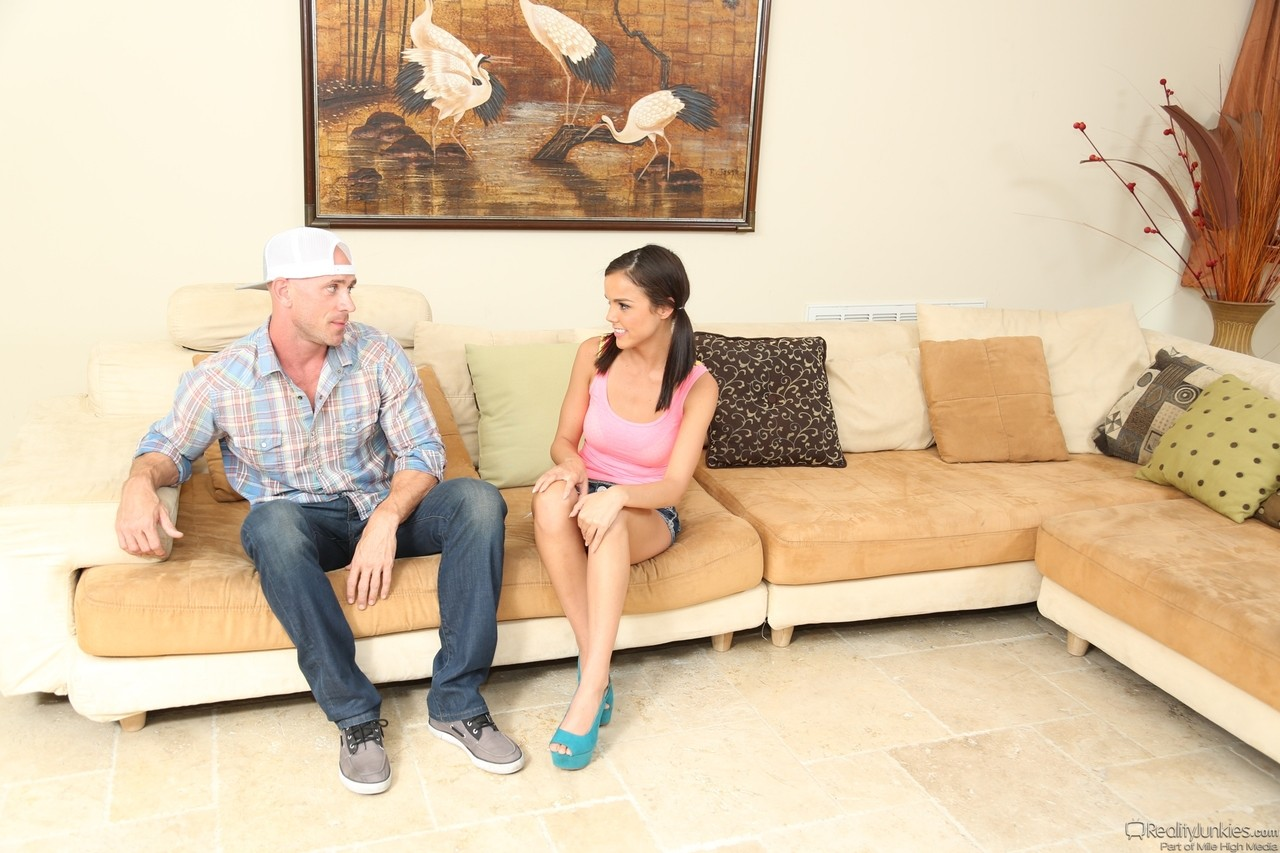 Pigtailed brunette Dillion Harper rides a prick and get showered with cum