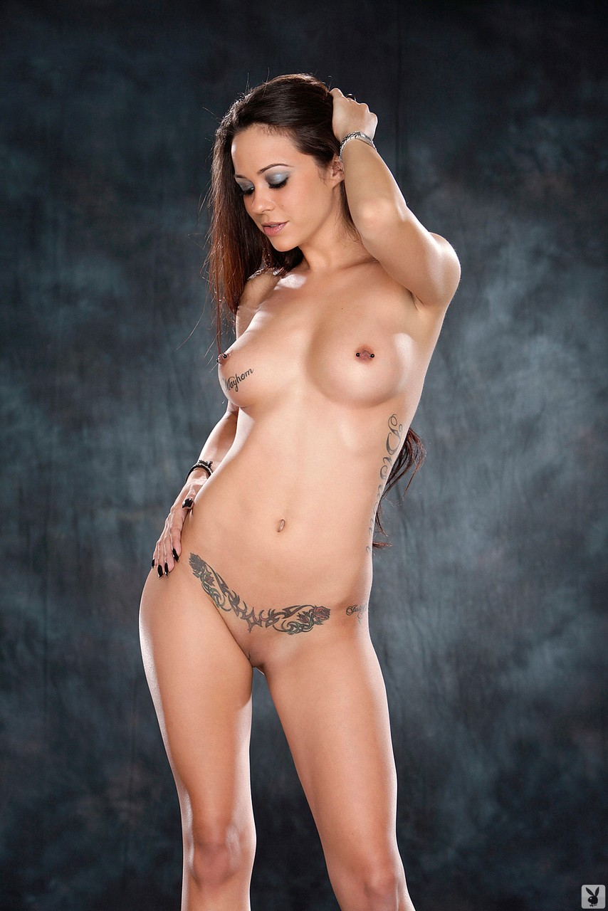 Playboy model Havoc shows off her hot tattooed body and pierced nipples