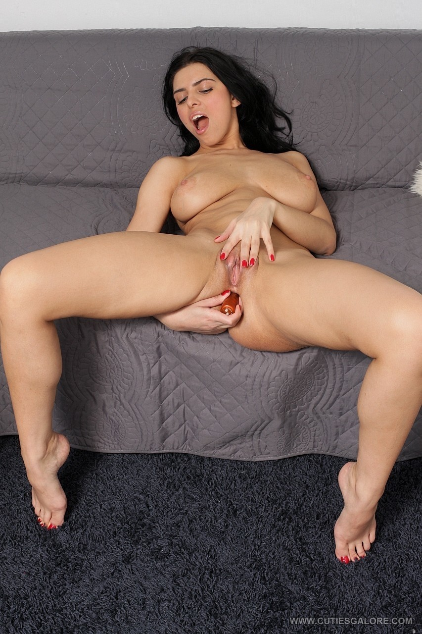 Teen with big tits Kira Queen anal toys with a dildo in hot solo masturbation