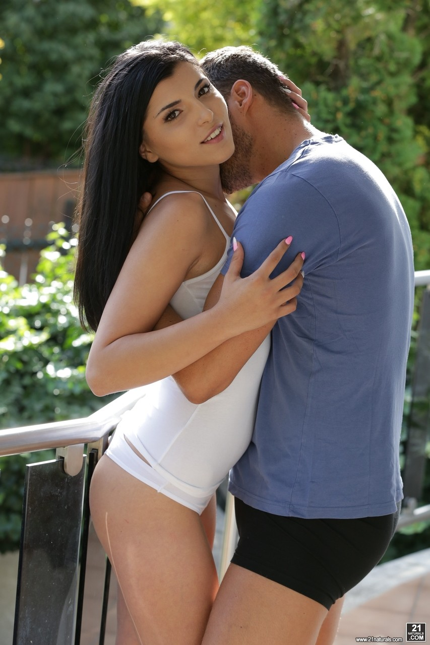 Black haired babe Emily Haze fucks with her boyfriend in the country house