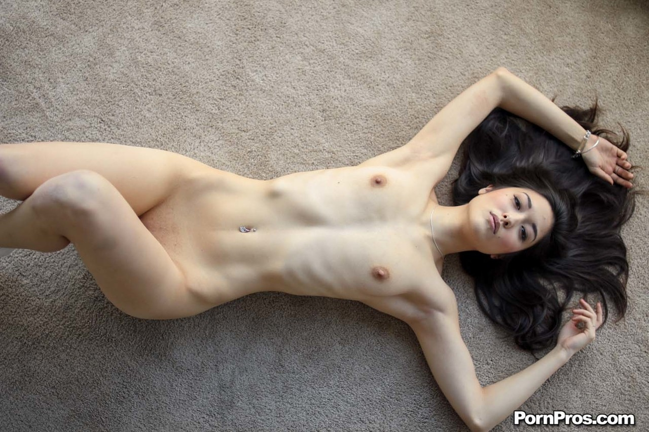 Shots of American skinny brunette Elana Dobrev and her tits and pussy
