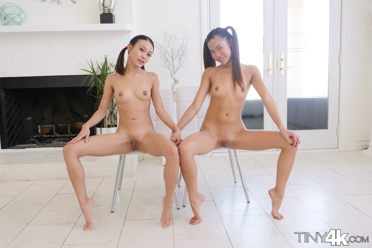 Tiny little Asian Jasmine Grey  her petite friend share cumshot in hot 3some
