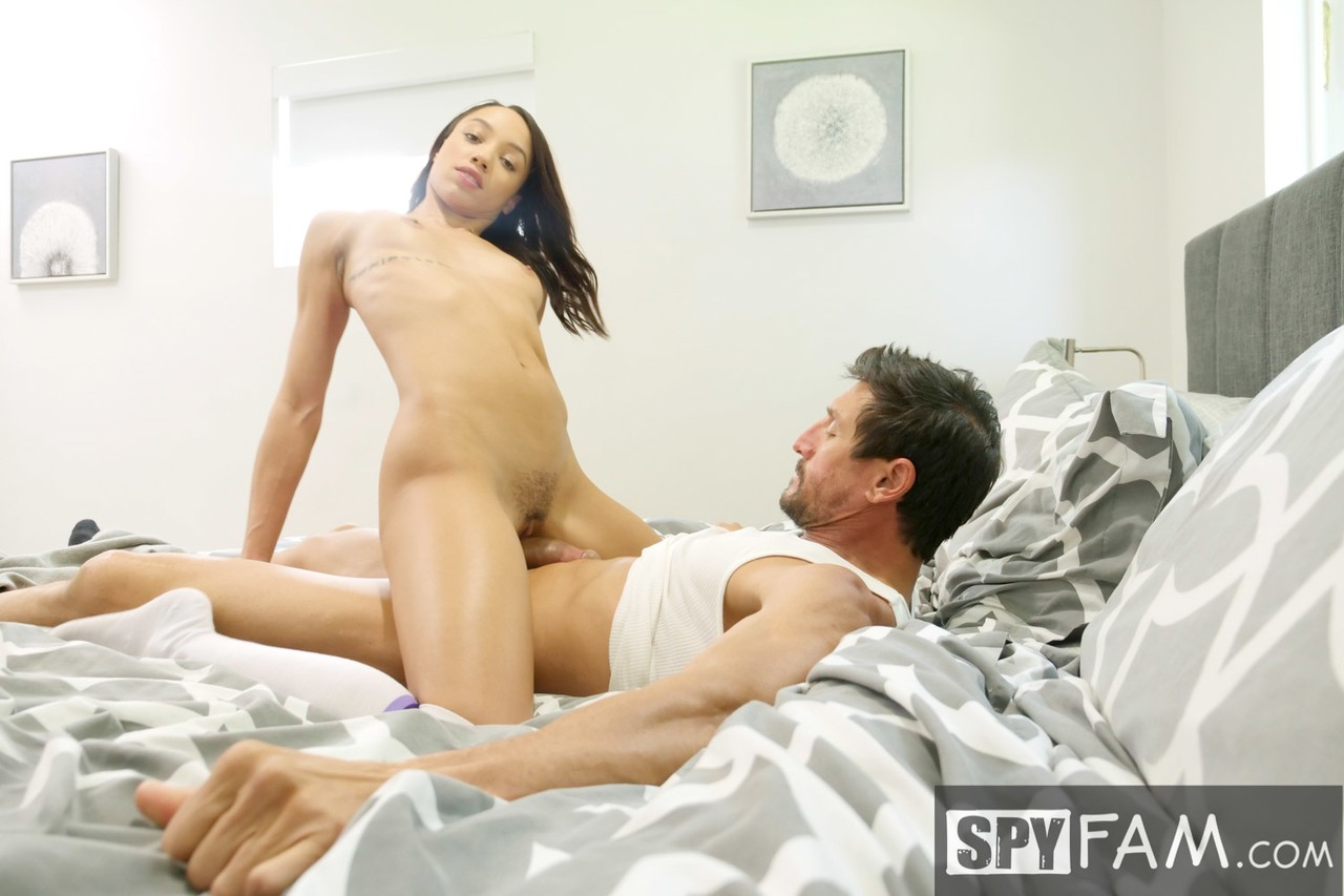 Skinny Latina in high knee socks Alexis Tae gets smashed hard by her stepdad