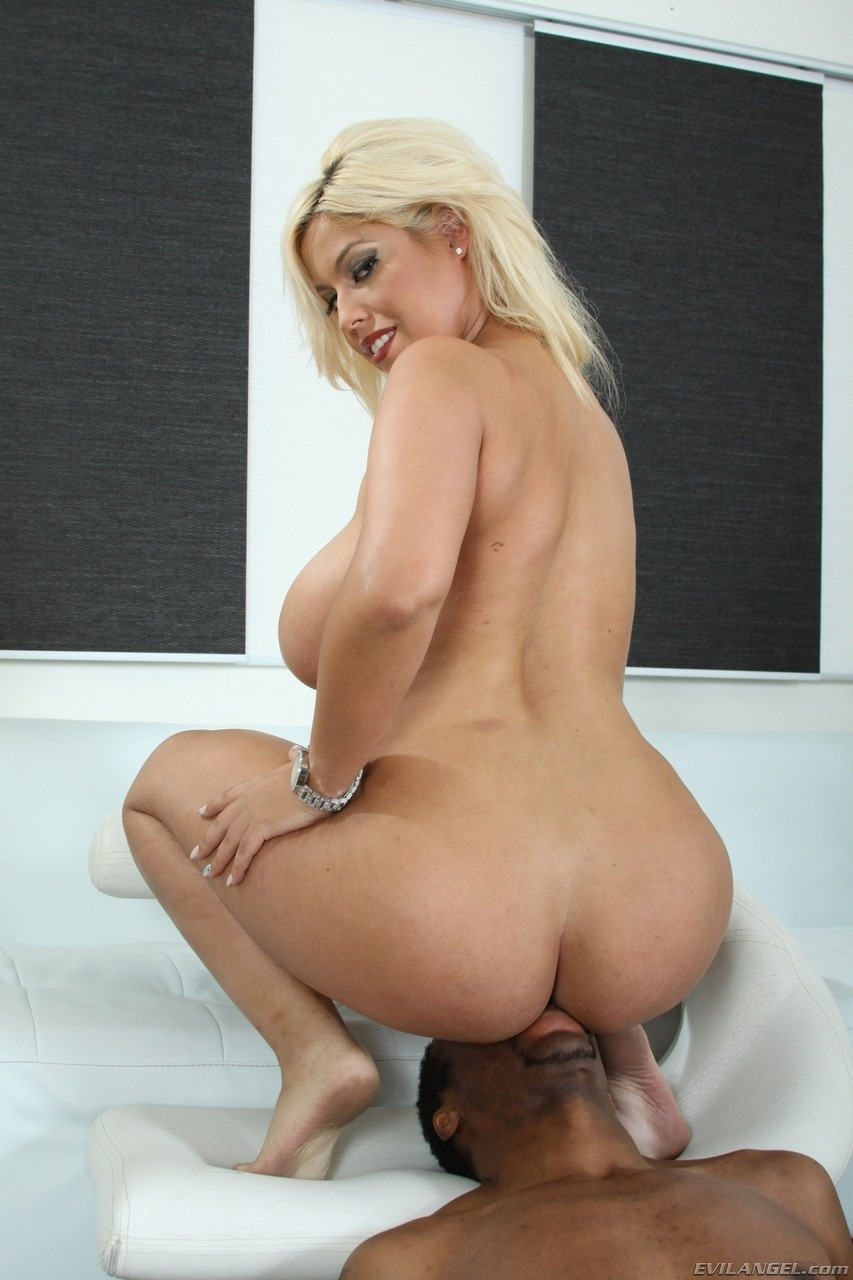 Blonde Spanish Bridgette B facesits black guy with the help of chubby girl