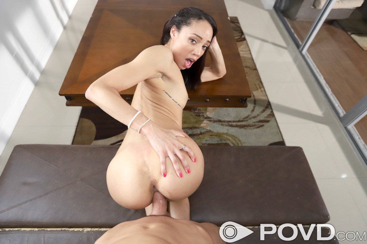 American Latina sweetie Alexis Tae blows a schlong and gets fucked in POV