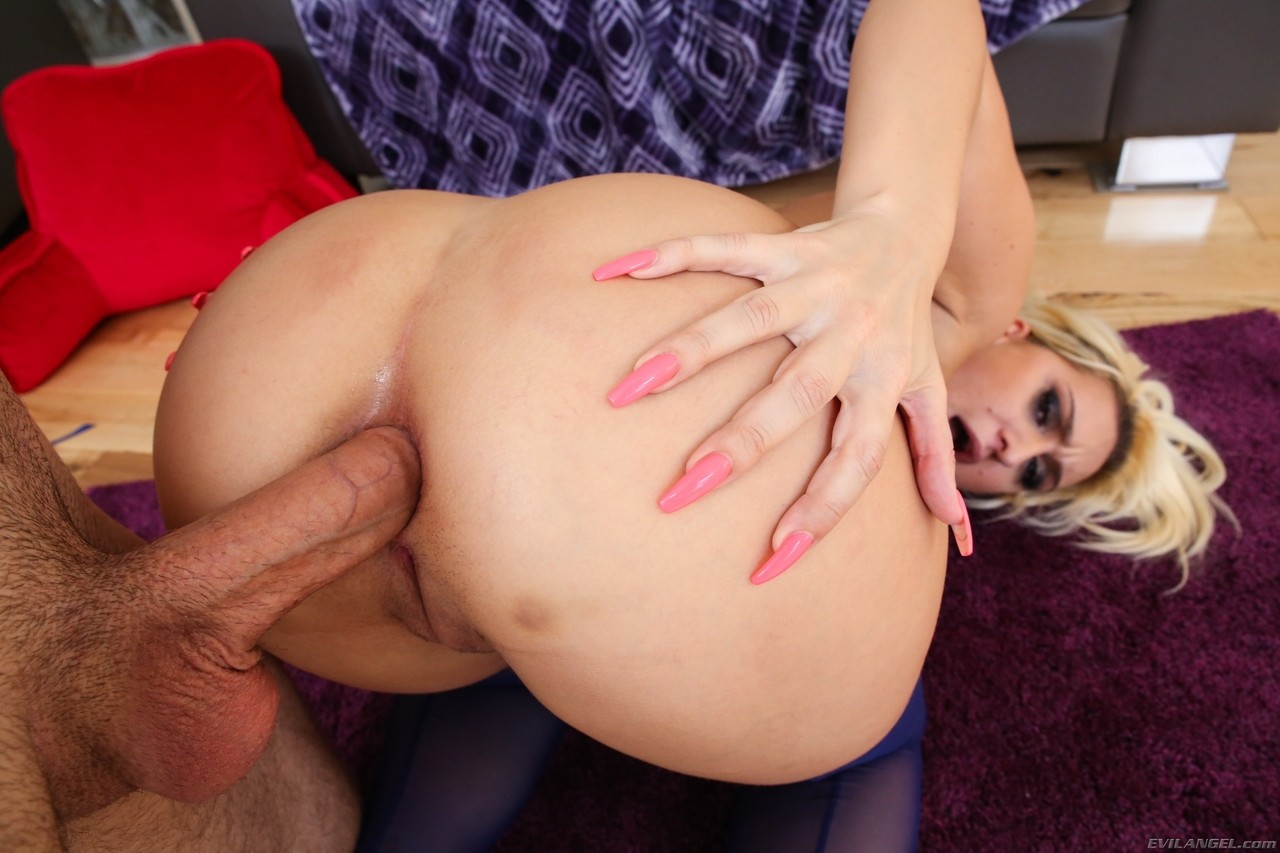 Buxom blonde Nina Kayy rides her fat ass on hard dick  shows gaping butt