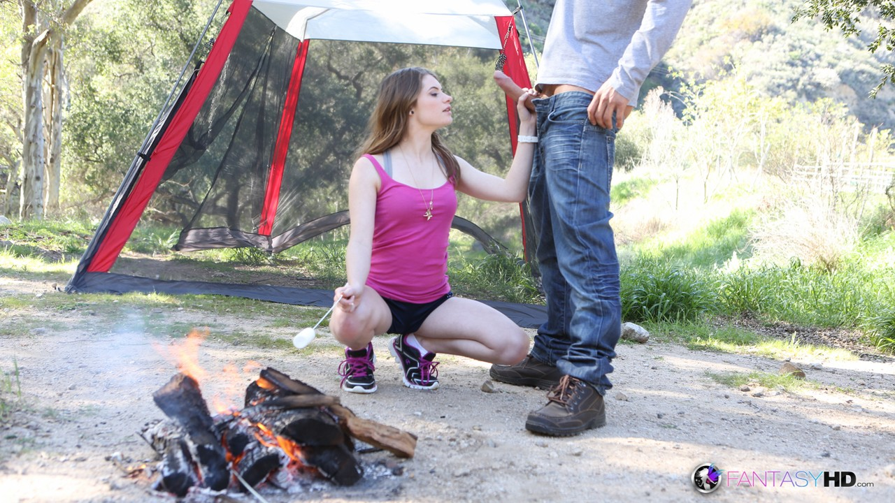 Brunette teen with tiny tits Alice March gets smashed on camping in the woods