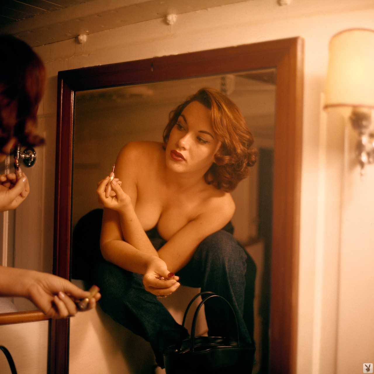Playboy retro brunette Dawn Richard showing her sexy body in various places