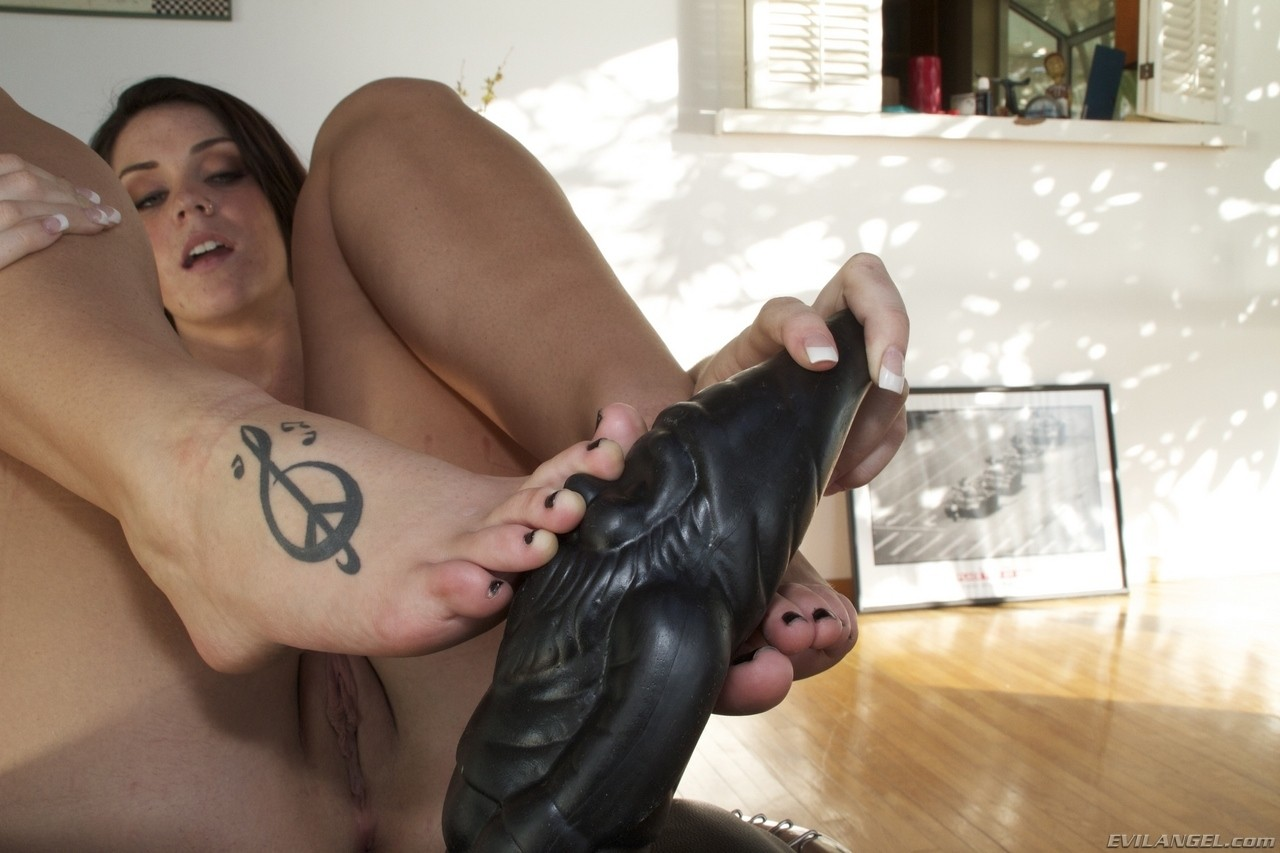 Horny dark haired Alison Tyler tapes fake tits  toys ass in BDSM self-service