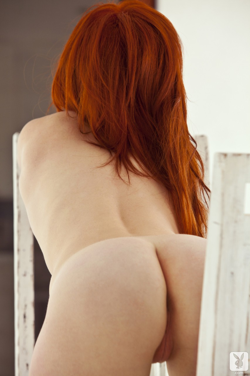 Stunning redhead centerfold babes show off their sexy medium tits outdoors