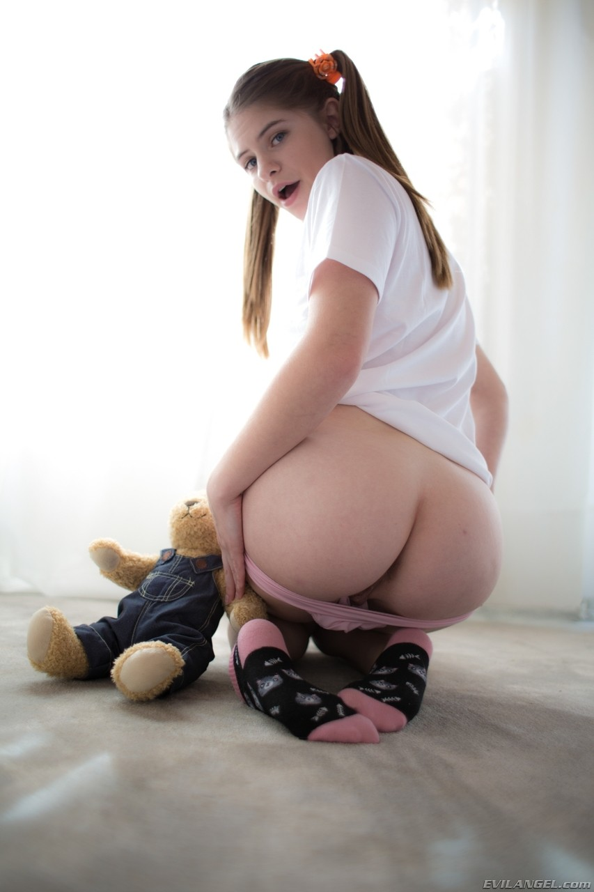 Cute brunette teen Alice March spreads her legs and shows cunt and ass in solo