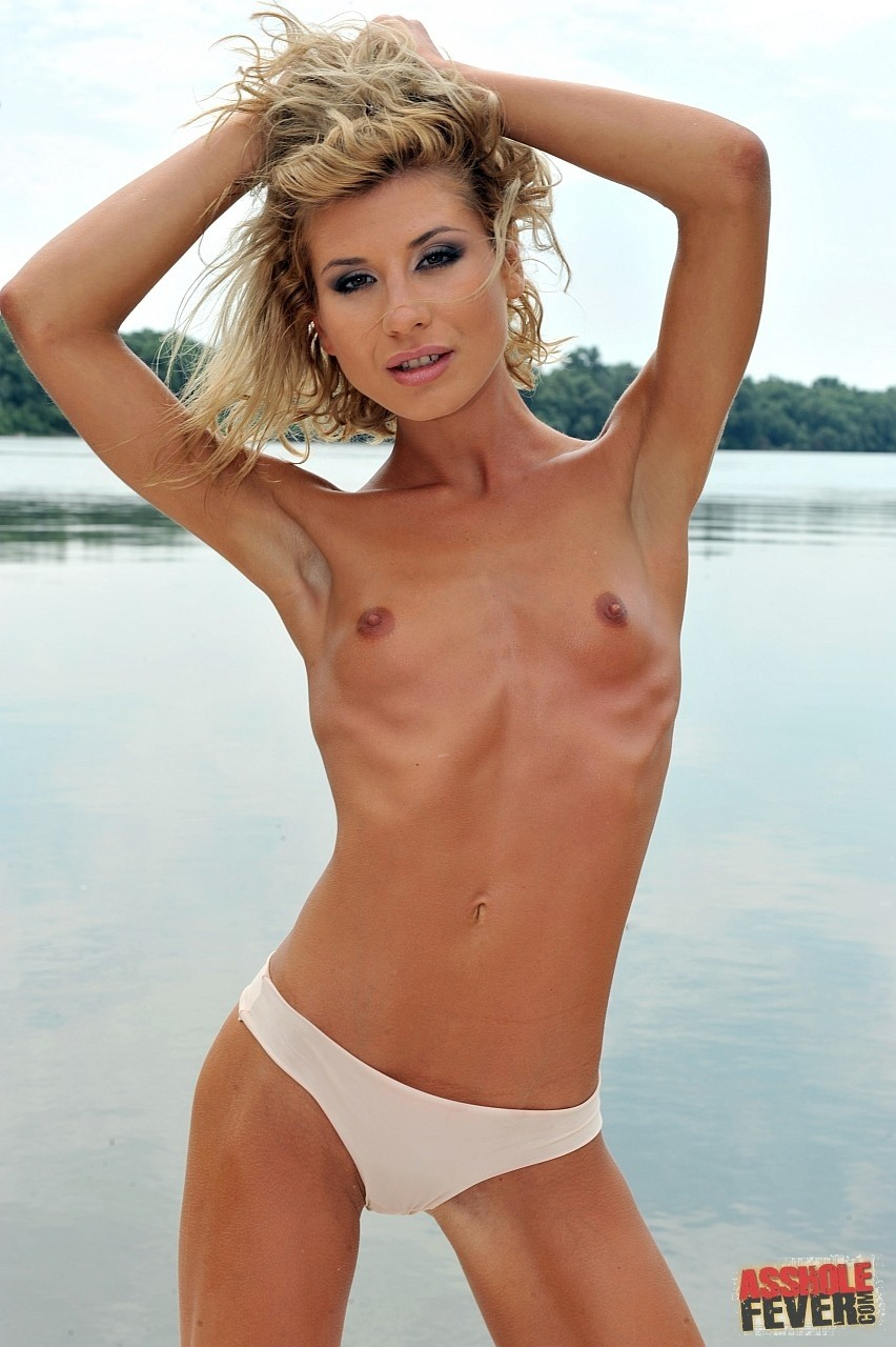 Blonde babe with small tits Ioana gets assfucked and facialized on the boat