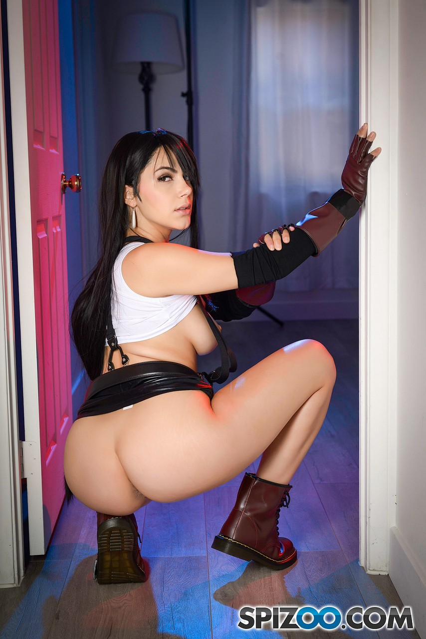 Italian cosplay hottie Valentina Nappi showing sexy curves in suspenders