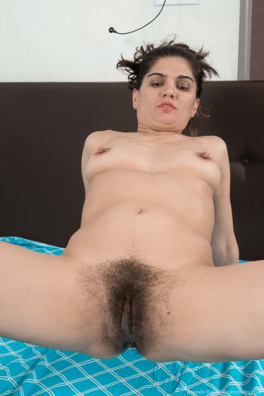 Hairy mature Ananda Ray gives closeup view of her meaty lips  hairy ass