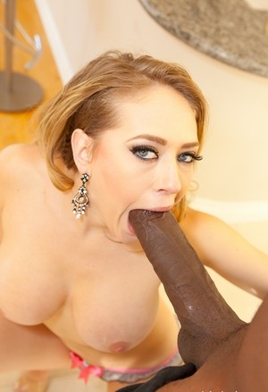 Blonde chick Kagney Linn Karter goes ass to mouth with a big black cock