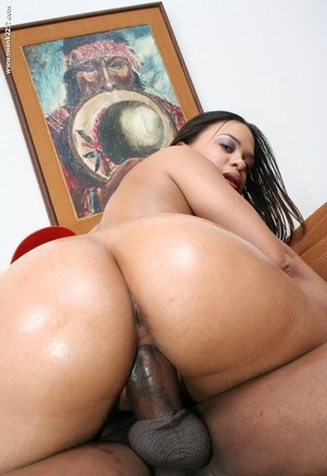 Black chick Chyanne Jacobs takes a BBC between her meaty pussy lips