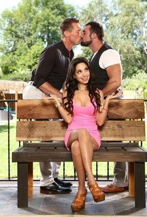 Brunette female Trinity St Clair discovers her husband is bisexual