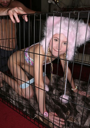 Young blonde Odette Delacroix is released from her cage for hymen popping