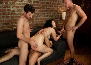 Slutty female Kimberly Kane does a triple penetration during a gangbang