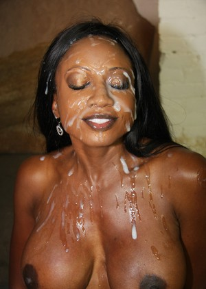 Black female Diamond Jackson has her face drenched in jizz by white men