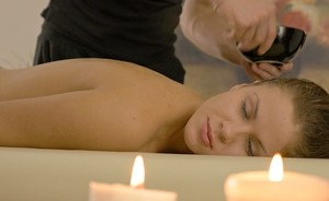 Naked teen Ariana Jollee gets digitally penetrated and banged by her masseur