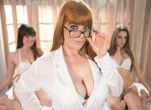 Redhead in glasses enlists her girlfriends in pleasing a man together