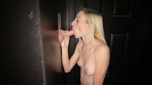 Golden haired Mikayla swallowing warm cum in hot gloryhole action