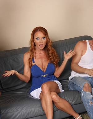 Older redhead Janet Mason fucks 3 black studs while her son watches hr