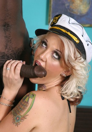 Wife of a sailor bangs a black man while her cuckold watches on