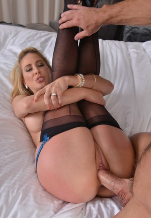 American MILF Cherie DeVille gets banged wearing back seam nylons and heels