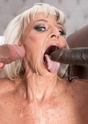Hot older lady Sally DAngelo fucks a black and white man at the same time
