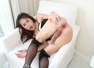 Thai shemale gets blown and bareback ass fucked by her male lover
